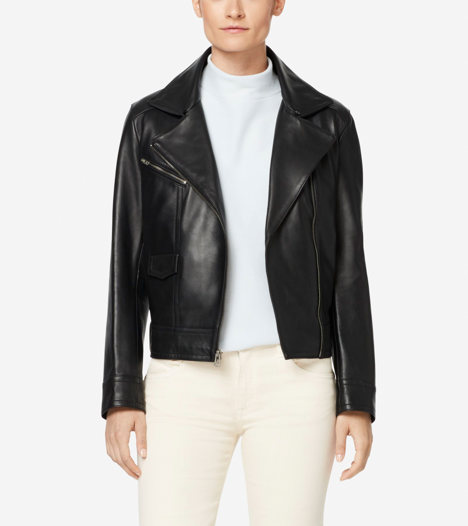 d2828451f60 Women's Leather Moto Jacket with Shearling Collar in Black   Cole Haan