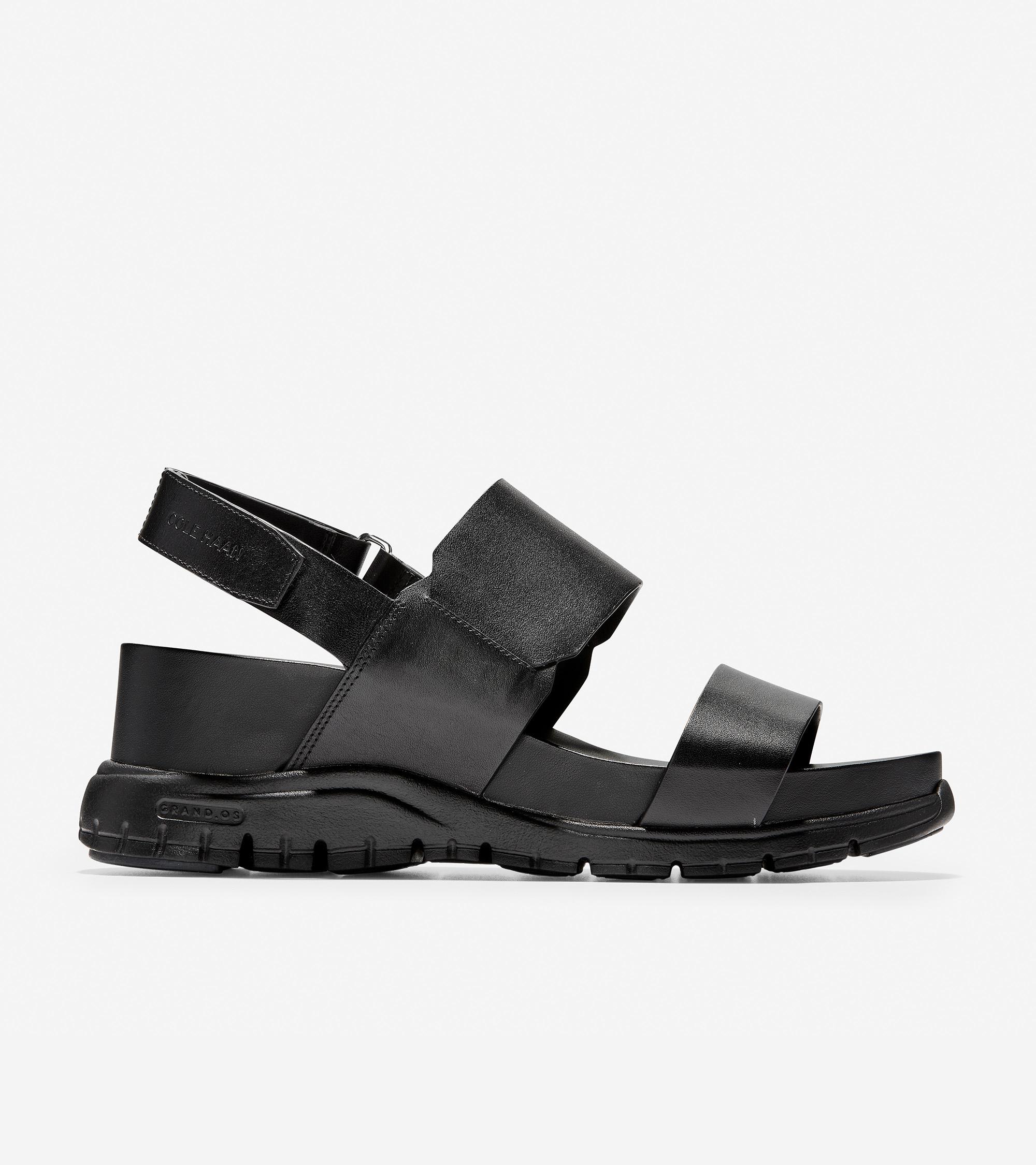 Women's Zerøgrand Black Sandal LeatherCole Haan In Wedge Us 6yfg7vbY