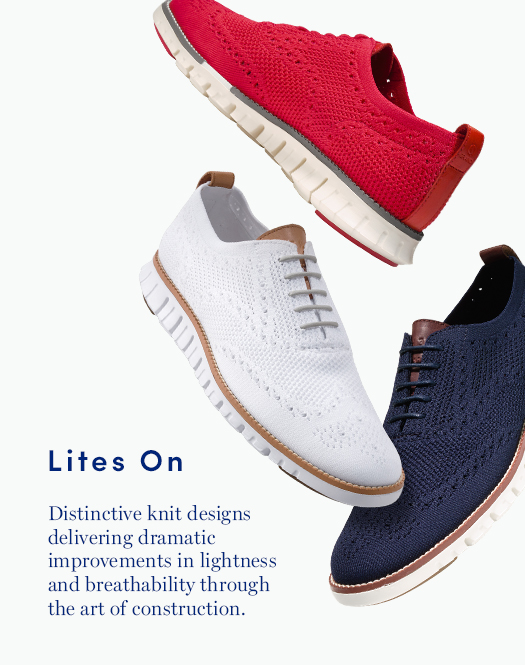 Lites On: Distinctive knit designs delivering dramatic improvements in lightness and breathability through the art of construction.