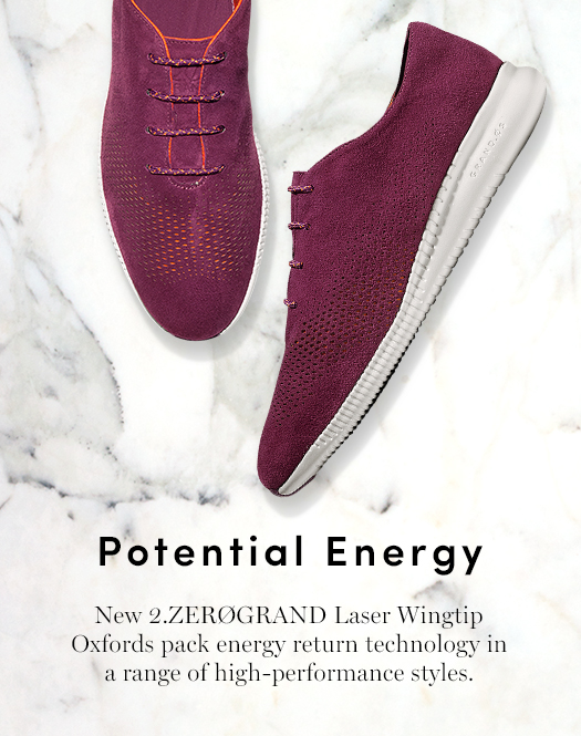 Potential Energy: New 2.ZEROGRAND Laser Wingtip Oxfords pack energy return technology in a range of high-performance styles.
