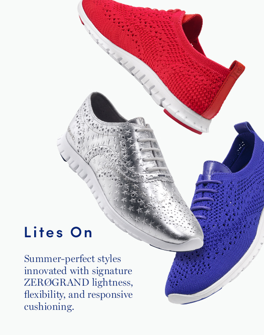 Lites On: Summer-perfect styles innovated with signature ZERØGRAND lightness, flexibility, and responsive cushioning.