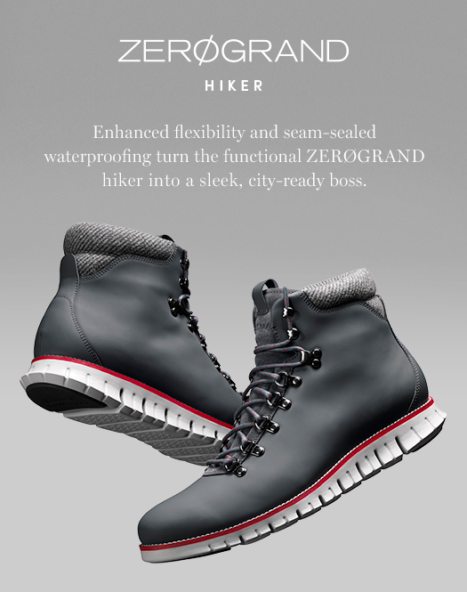Zerogrand Hiker: ENhanced flexibility and seam-sealed waterproofing turn the functional ZEROGRAND hiker into a sleek, city-ready boss