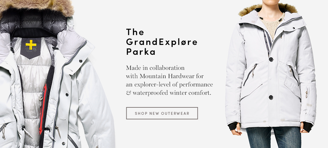 The GrandExpløre Parka: Made in collaboration with Mountain Hardwear for an explorer-level of performance & waterproofed winter comfort.