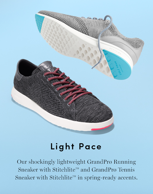 Light Pace - Our shockingly lightweight GrandPro Running Sneaker with Stitchlite and GrandPro Tennis Sneaker with Stitchlite in spring-ready accents.