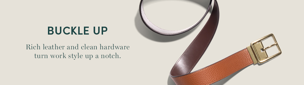 Buckle Up. rich leather and clean hardware turn work style up a notch