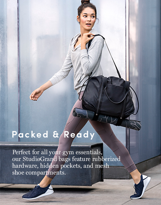 Packed for all your gym essentials, our StudiøGrand bags feature rubberized hardware, hidden pockets, and mesh shoe compartments.