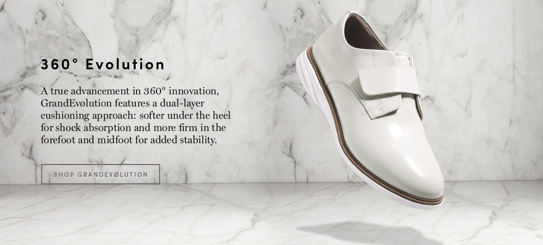 A true advancement in 360 degree innovation, GrandEvolution features a dual-layer cushioning approach: softer under the heel for shock absorption and more firm in the forefoot and midfoot for added stability.