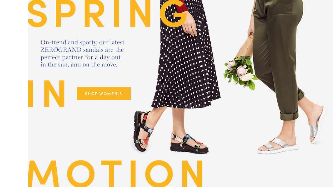 Spring In Motion: On-trend and sporty, our latest ZEROGRAND sandals are the perfect partner for a day out, in the sun, and on the move. Shop Women's