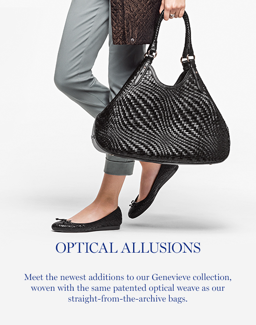 Optical Allusions: Meet the newest additions to our Genevieve collection, woven with the same patented optical weave as our straight-from-the-archive bags.