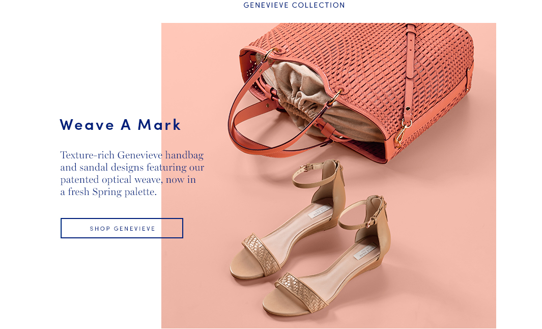 Weave a Mark: Texture-rich Genevieve handbag and sandal designs featuring our patented optical weave, now in fresh Spring palette