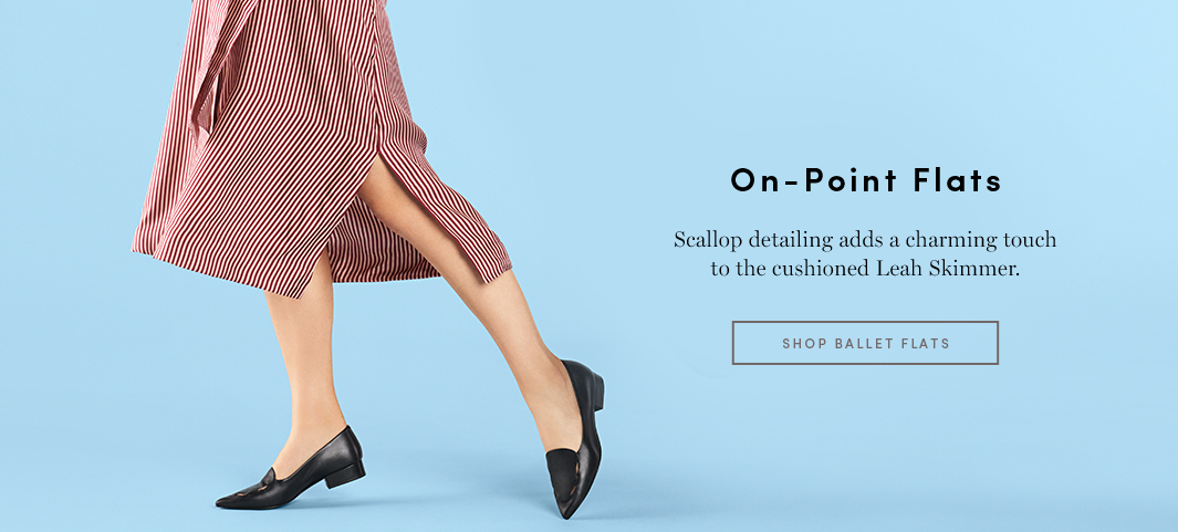 On-Point Flats Scallop detailing adds a charming touch to the cushioned Leah Skimmer.