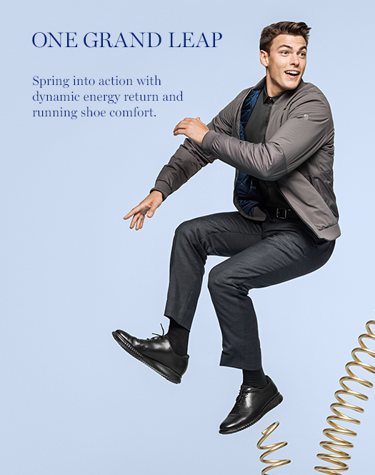 One Grand Leap: Spring into action with dynamic energy return and running shoe comfort.