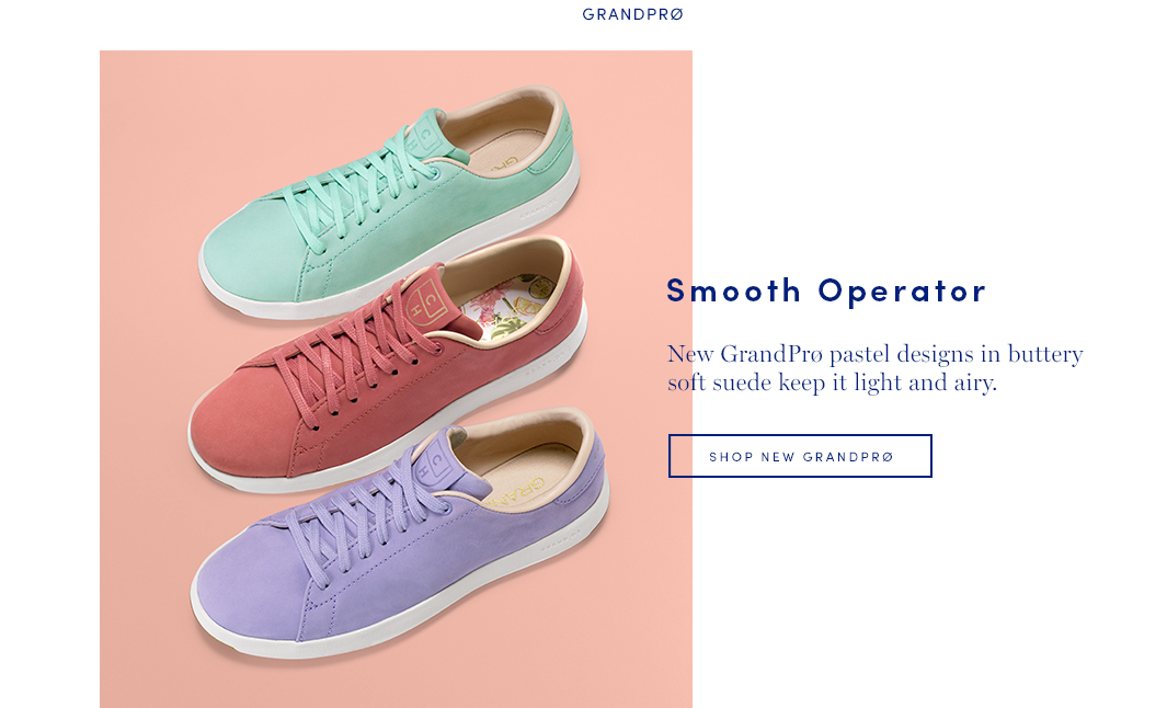 Smooth Operator: New Grandpro pastel design in buttery soft suede keep it light and airy