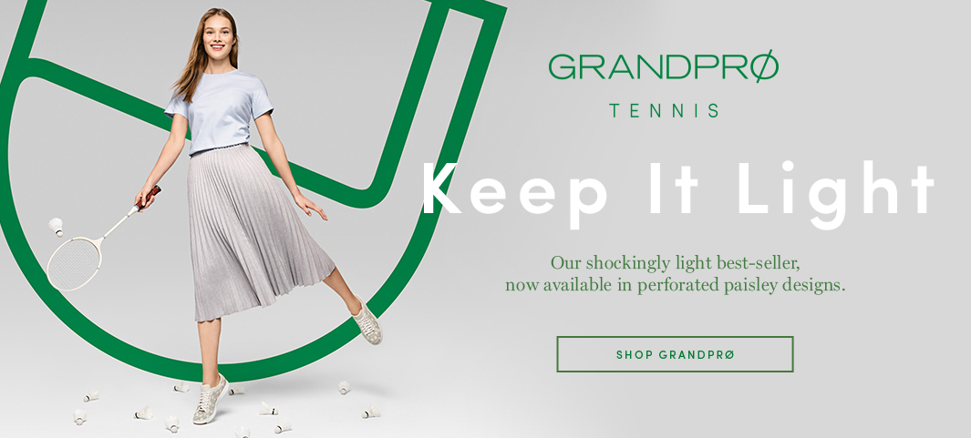 GrandPrø Tennis: Our shockingly light best-seller, now available in perforated paisley designs.