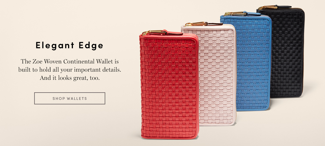 Elegant Edge - The Zoe Woven Continental Wallet is built to hold all your important details. And it looks great too.