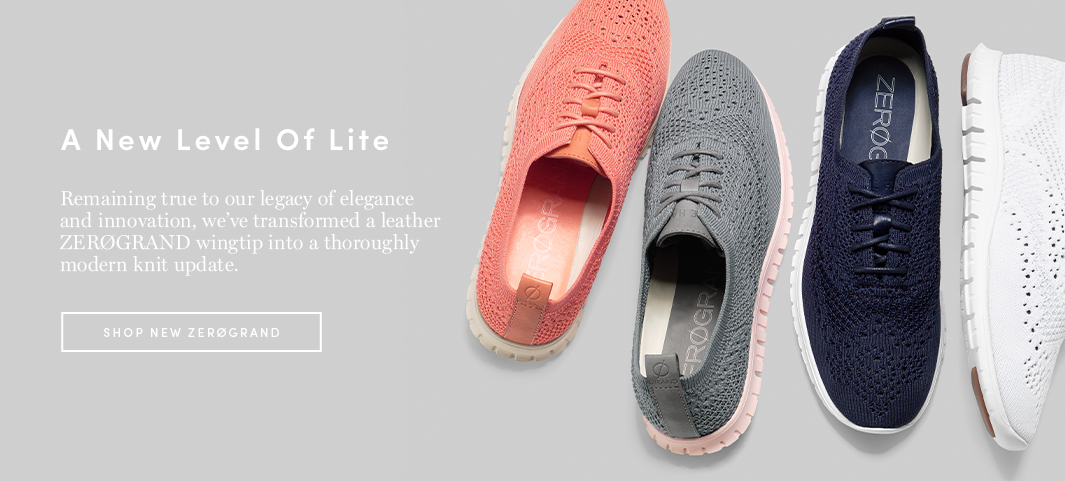 A New Level of Lite: Remaining true to our legacy of elegance and innovation, we've transformed a leather ZERØGRAND wingtip into a thoroughly modern knit update.