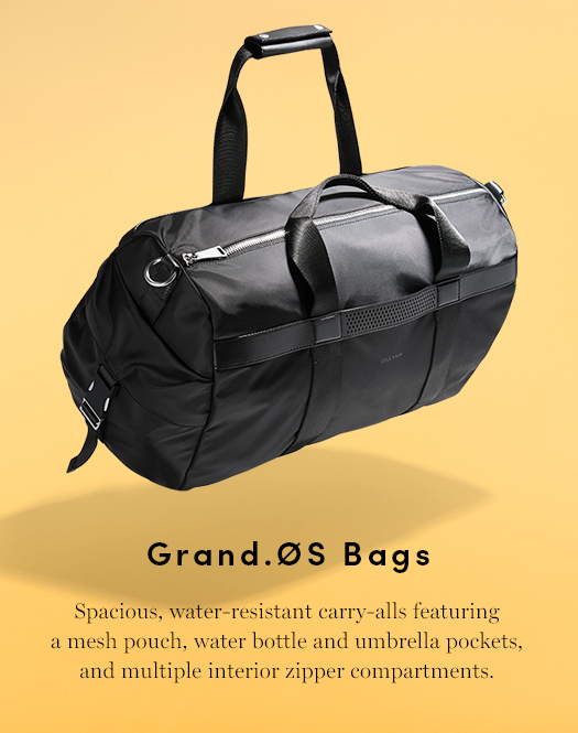 Grand.Os Bags - Spacious, water-resistant carry-alls featuring a mesh pouch, water bottle and umbrella pockets, and multiple interior zipper compartments